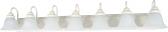 "Ballerina Textured White Bathroom Light Alabaster Glass 48""Wx8""H"