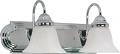 "Ballerina Polished Chrome Bathroom Light Alabaster Glass 18""Wx8""H"