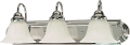 "Ballerina Polished Chrome Bathroom Light Alabaster Glass 24""Wx8""H"