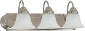 "Ballerina Brushed Nickel Bathroom Light Alabaster Glass 24""Wx8""H"