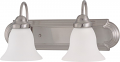 "Ballerina Brushed Nickel Bathroom Light Frosted Glass 18""Wx8""H"