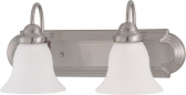 """Ballerina Brushed Nickel Bathroom Light Frosted Glass 18""""Wx8""""H"""