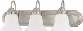 """Ballerina Brushed Nickel Bathroom Light Frosted Glass 24""""Wx8""""H"""