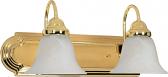 "Ballerina Polished Brass Bathroom Light Alabaster Glass 18""Wx8""H"