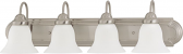 """Ballerina Brushed Nickel Bathroom Light Frosted Glass 30""""Wx8""""H"""