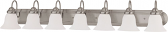 """Ballerina Brushed Nickel Bathroom Light Frosted Glass 48""""Wx8""""H"""