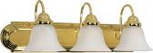 "Ballerina Polished Brass Bathroom Light Alabaster Glass 24""Wx8""H"