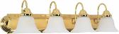 "Ballerina Polished Brass Bathroom Light Alabaster Glass 30""Wx8""H"