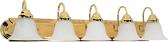"Ballerina Polished Brass Bathroom Light Alabaster Glass 36""Wx8""H"
