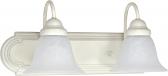 "Ballerina Textured White Bathroom Light Alabaster Glass 18""Wx8""H"