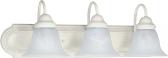 "Ballerina Textured White Bathroom Light Alabaster Glass 24""Wx8""H"