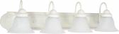 "Ballerina Textured White Bathroom Light Alabaster Glass 30""Wx8""H"
