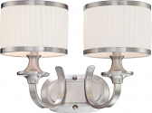 """Candice Brushed Nickel Drum Shade Wall Light 16""""Wx11""""H"""