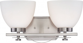 """Bentley Brushed Nickel Wall Light Frosted Glass 15""""Wx8""""H"""