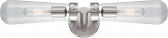 "Beaker Brushed Nickel Wall Light Glass Shades 24""Wx 5""H"