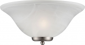 "Ballerina Alabaster Glass Brushed Nickel Half Shade Sconce Light 16""Wx7""H"