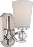 """Connie Polished nickel Satin Glass Sconce Light 5""""Wx9""""H"""