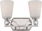 """Connie Polished nickel Satin Glass Wall Light 14""""Wx9""""H"""