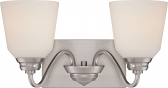 """Calvin LED Brushed Nickel White Glass Wall Light 16""""Wx9""""H"""