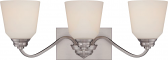 """Calvin LED Brushed Nickel White Glass Wall Light 24""""Wx9""""H"""