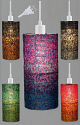 "Beaded Glass Drum Plug In Pendant Light 5 Colors 4.5""Wx10""H - Sale !"