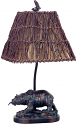 "Bear & Fish Table Lamp Tree Wood Twigs Shade 22""H"