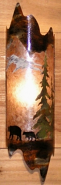 "Bear Family Pine Trees Rust Patina Mica Sconce Light 6""Wx22""H"