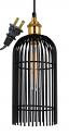 "Black & Brass Plug In Industrial Pendant Light 6""Wx15""H"