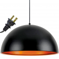 "Satin Black & Copper Plug In Pendant Light 20""Wx9""H"