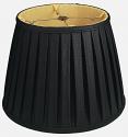 "Black English Pleated Lamp Shade 14-20""W"