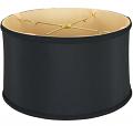 "Black Shallow Silk Drum Lamp Shade 12-18""W"