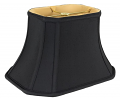 "Black Rectangle Cut Corner Bell Silk Lamp Shade 8-18""W"