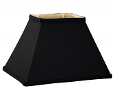 "Black Tapered Rectangle Silk Lamp Shade 12-18""W"