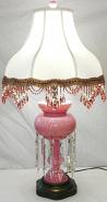 "Antique Bohemian Czech Pink Glass Luster Lamp 27""H"