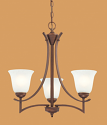 "Canton Burnished Gold Bronze Chandelier White Glass 19""Wx21""H"