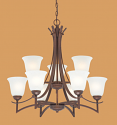 "Canton Burnished Gold Bronze Chandelier White Glass 28""Wx28""H"