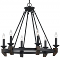 "Cruz Forged Iron & Wood Chandelier 6 Lights 28""Wx26""H"