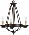 "Bronze Forged Wrought Iron Vintage Arts Crafts Chandelier 3 Lights 20""Wx22""H"