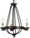"Copper Bronze Iron Gothic Medieval Chandelier 3 Lights 20""Wx22""H"