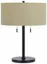 "Bronze Desk Lamp Drum Linen Shade 24""H - Sale !"