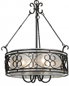 "Bronze Forged Iron Sheer Drum Pendant Light 24""W - Sale !"