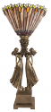 "Bronze Ladies Tiffany Torchiere Lamp 27""H"
