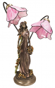 "Bronze Lady Pink Tiffany Torchiere Lamp 25""H"