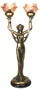 "Bronze Lady Tiffany Torchiere Lamp 23""H"