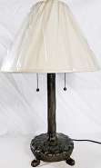 """Bronze Lamp Cast Metal & Linen Shade 26""""H"""