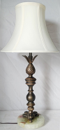 "Bronze Iron & Onyx Stone Lamp 25""H"