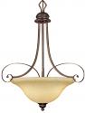 "Chateau Turinian Scavo Glass Pendant Light Bronze Iron Scrolls 21""Wx26""H"