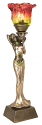 "Bronze & Silver Lady Tiffany Torchiere Lamp 20""H"