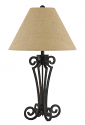"Blacksmith Iron Table Lamp Burlap Shade 32""H"