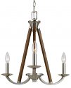 "Brushed Steel & Wood Chandelier 18""Wx20""H"